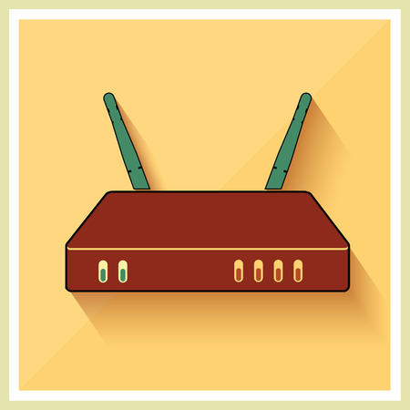 Wi-Fi Router on Yellow Retro Background Vector Illustration