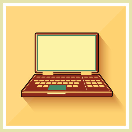 Laptop notebook pc op platte gele Retro Achtergrond vintage pictogram Vector