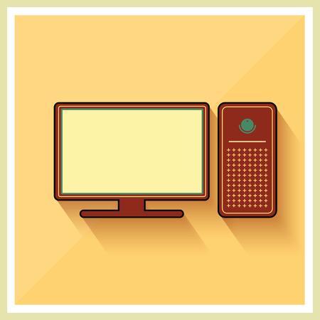 개인용 컴퓨터와 노란색 복고풍 배경 벡터에 모니터