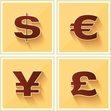 World Currency Symbols Flat Icon on Yellow Retro background Ilustrace