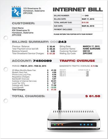 expenses: Gastos ISP Internet Bill Documento plantilla de dise�o con el Router