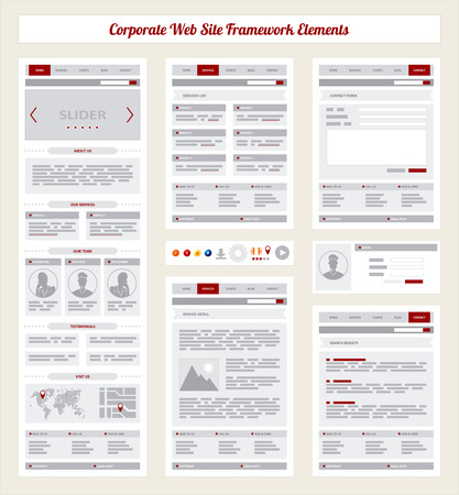 企業のインターネット サイト ナビゲーション マップ構造プロトタイプ フレームワーク フローチャート図  イラスト・ベクター素材
