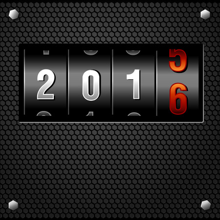 analog dial: 2016 New Year Analog Counter detailed vector