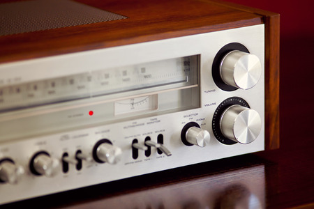 receiver: Vintage Stereo Radio Receiver Stock Photo