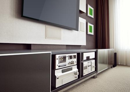 equipo de sonido: Modern Home Theater Room Interior con TV de pantalla plana en ángulo vista en perspectiva Foto de archivo