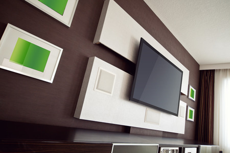 home audio: Modern Home Theater Room Interior with Flat Screen TV angled perspective view