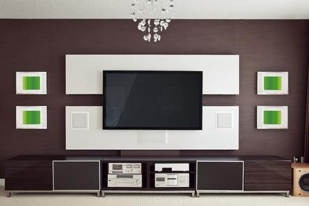 teatro: Modern Home Theater Room Interior con pantalla plana de TV vista frontal