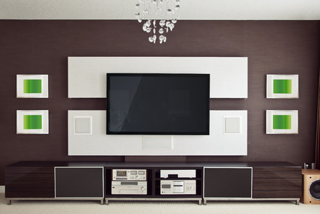 at the theater: Modern Home Theater Room Interior with Flat Screen TV frontal view
