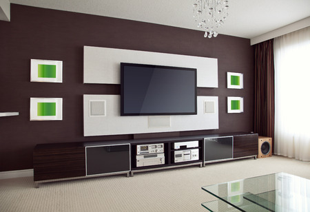 ver tv: Modern Home Theater Room Interior con TV de pantalla plana en ángulo vista en perspectiva Foto de archivo