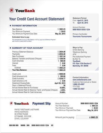 cuenta bancaria: Tarjeta de crédito Estado de Cuenta del Banco de Finanzas Plantilla de documento Vectores
