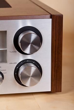 receiver: Vintage Stereo Radio Receiver Knobs Closeup