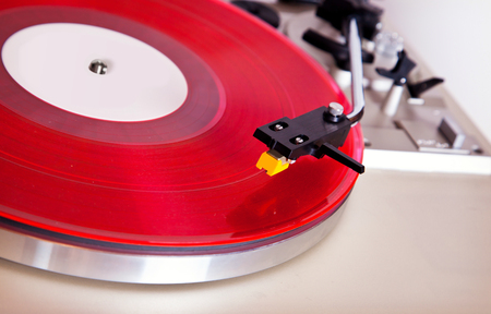entertainment equipment: Analog Stereo Turntable Red Vinyl Record Player Headshell Cartridge