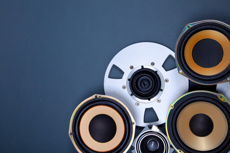 audio equipment: Audio Sound Speakers and Open Reel Objects Collection Set