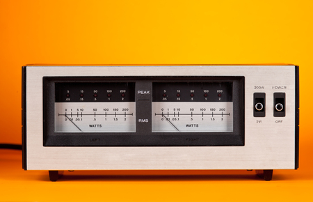 Analog Peak RMS Audio Power VU Meter with needle and LED frontal view