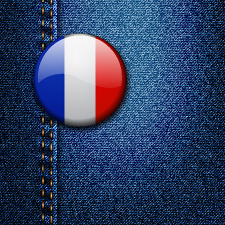 80 90: France Bright Colorful Badge on Denim Fabric Texture Vector