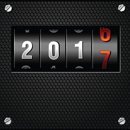 new year counter: 2017 New Year Analog Counter detailed vector
