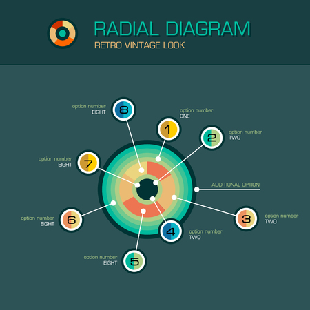 planetary: Vector round radial diagram with beam pointers infographic design template. Planetary concept with 8 options. Data visualization illustration suitable for web design.