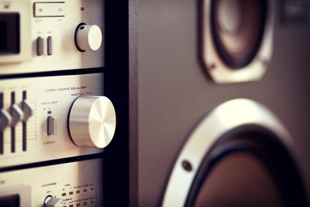 Stereo Audio Music Rack Component Control Knob Closeup Blurred Stock Photo