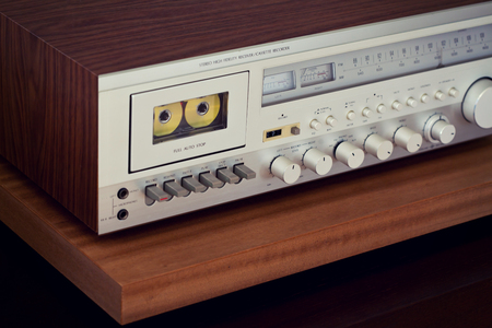 angled: Vintage Cassette Deck Stereo Receiver Angled View Closeup