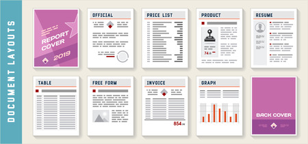 Document Report Layout Templates Set Vector