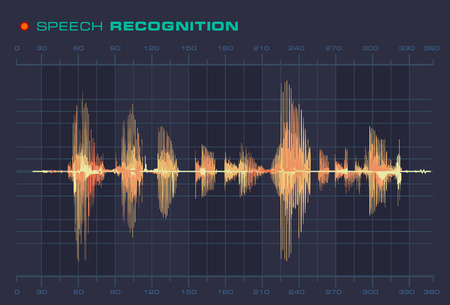 vocal: Speech Recognition Sound Wave Form Signal Flat Style Diagram