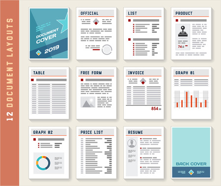 layout: Document Report Layout Templates Mockup Set Vector