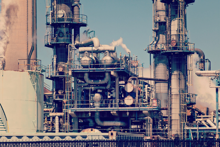 Refined Petroleum Petrochemical Plant Smokestack Rusty Pipeline