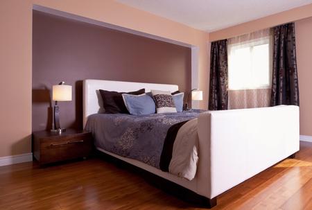 hardwood floor: Modern contemporary apartment bedroom interior design after bamboo floors renovation Stock Photo