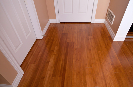hardwood flooring: Modern interior bamboo hardwood flooring after renovation angled view