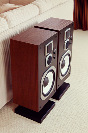 speaker box: Three Way Big Audio Stereo Loud Speaker Closeup, loudspeaker pair Stock Photo