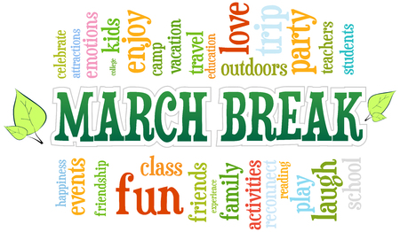 spring: March Spring School Break Word Cloud Bubble Tag Tree Vector