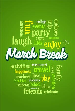 March Spring School Break Word Cloud Bubble Tag Tree Vertical Vector