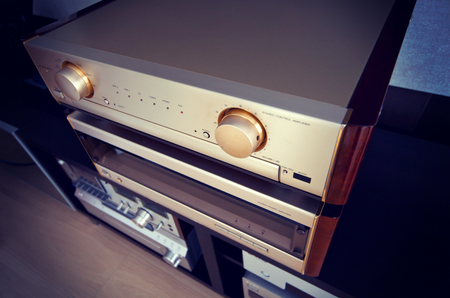 preamp: Two Amplifier Vintage Audio Stereo System Luxury High End Top Diagonal View Stock Photo