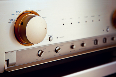Vintage Stereo Audio Versterker Source Selector Knop Switch Closeup