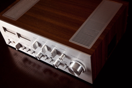 Vintage Stereo Amplifier Front Panel and Cabinet From the Top Angled View  Banco de Imagens