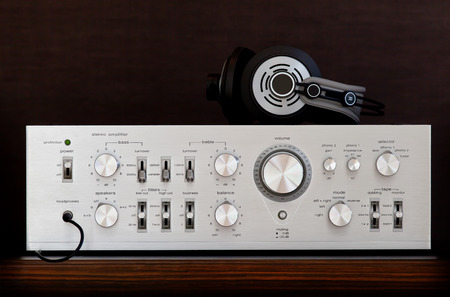 Vintage Audio Stereo Amplifier with Headphones Wire Front View