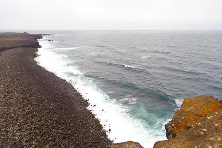 Iceland Reykjanes peninsula rocky volcanic sulfur stones shore coast line landscape