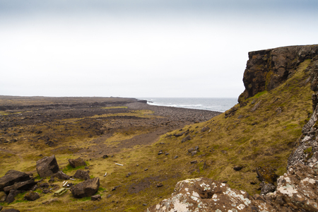 Rocky cliff with grass on Iceland Reykjanes peninsula volcanic stones shore coast line landscape