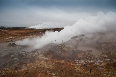 Desolate landscape of Iceland volcanic brown soil with steamy geyser mist and grey colored sky
