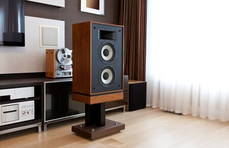 Tall Stereo Vintage Speaker in Modern Interior with open drivers Фото со стока