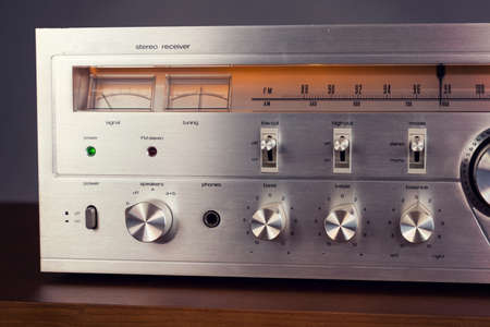 Vintage Audio Stereo Receiver with shiny metal front panel Banco de Imagens