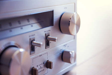 Vintage Audio Stereo Receiver Huge Shiny Metal Tuning Knob Closeup Banco de Imagens