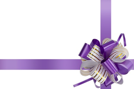 gift violet bow with ribbons isolated on white background  Stock Photo
