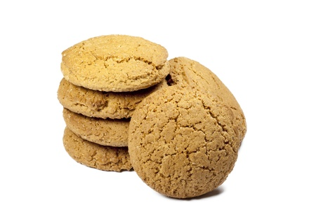 tower of oatmeal cookies on a white background photo