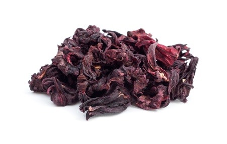Dry leaves of hibiscus tea isolated on the white background