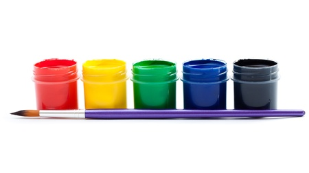 Opened gouache paint buckets with brush on the white background Banco de Imagens - 12175084