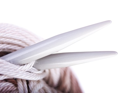 skein: Skeins of yarn, needles closeup on the white background. With sample text. Stock Photo