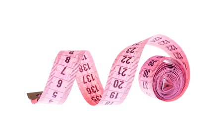 Pink measuring tape on the white background