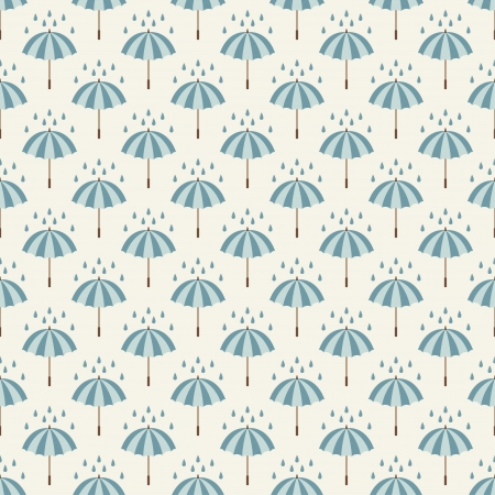 Seamless pattern with umbrellas and rain drops  Can be used to fabric design, wallpaper, decorative paper, web design, etc  Swatches of seamless patterns included in the file  Vector