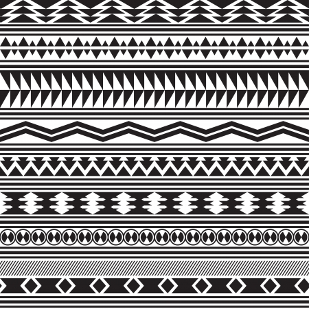 Tribal striped seamless pattern  Geometric black-white background  Swatches of seamless pattern included in the file  Stock Vector - 20025388